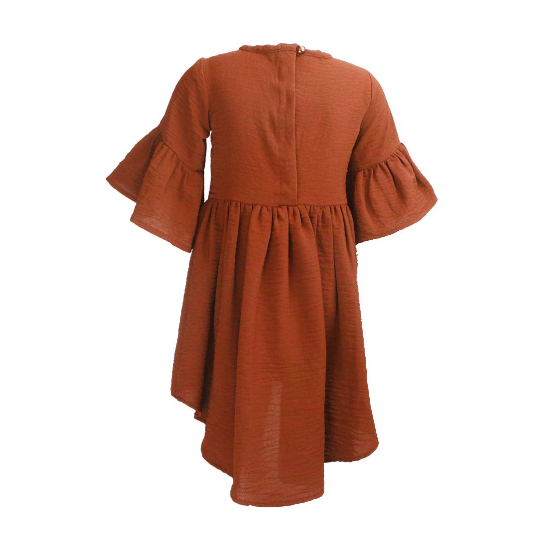 پیراهن دخترانه چین دار-آجری