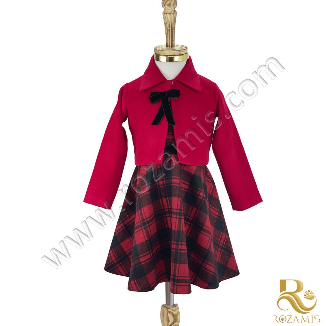 کت و سارافون پشمی دخترانه قرمز