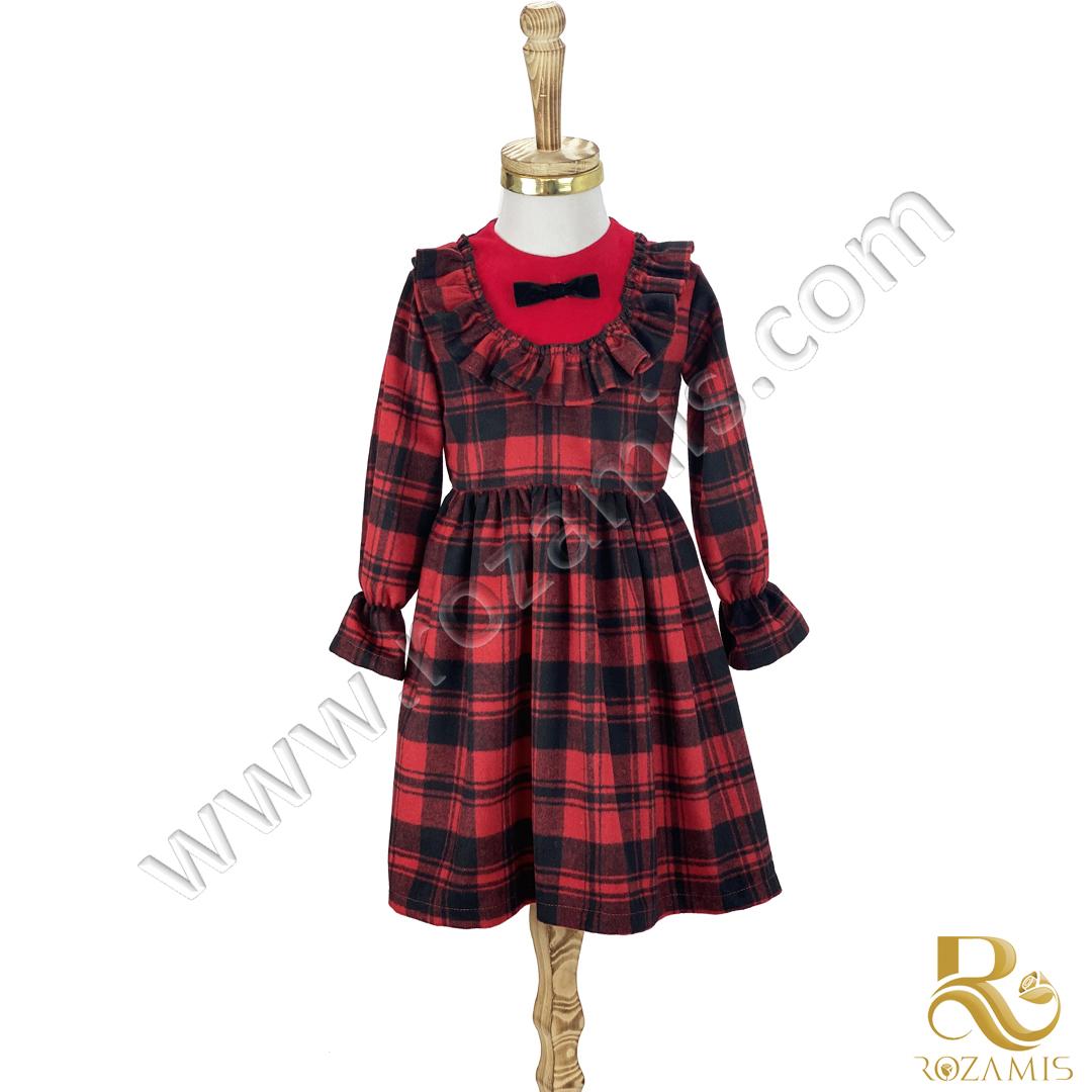 پیراهن پشمی پاییزه دخترانه قرمز